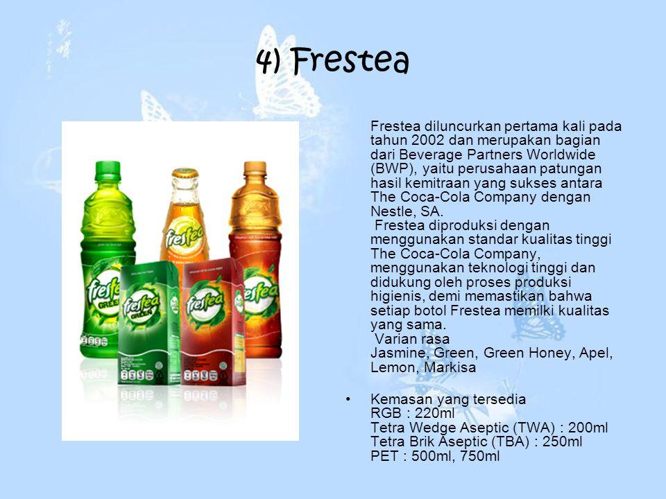 4) Frestea Frestea diluncurkan pertama kali pada tahun 2002 dan merupakan bagian dari Beverage Partners Worldwide (BWP), yaitu perusahaan patungan has