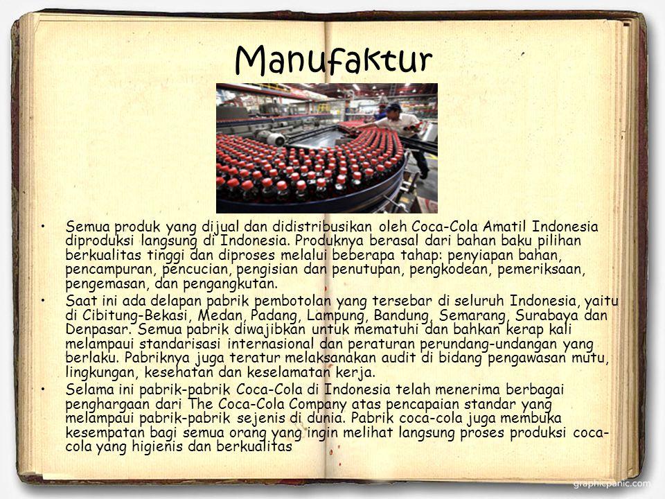 Manufaktur Semua produk yang dijual dan didistribusikan oleh Coca-Cola Amatil Indonesia diproduksi langsung di Indonesia. Produknya berasal dari bahan