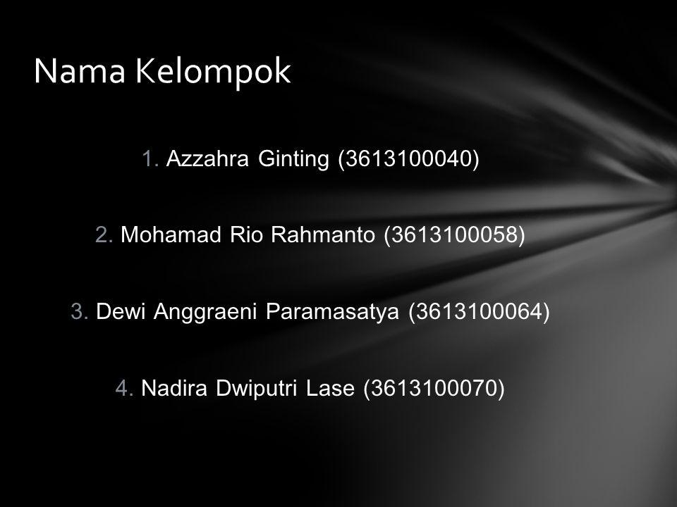 1.Azzahra Ginting (3613100040) 2. Mohamad Rio Rahmanto (3613100058) 3.