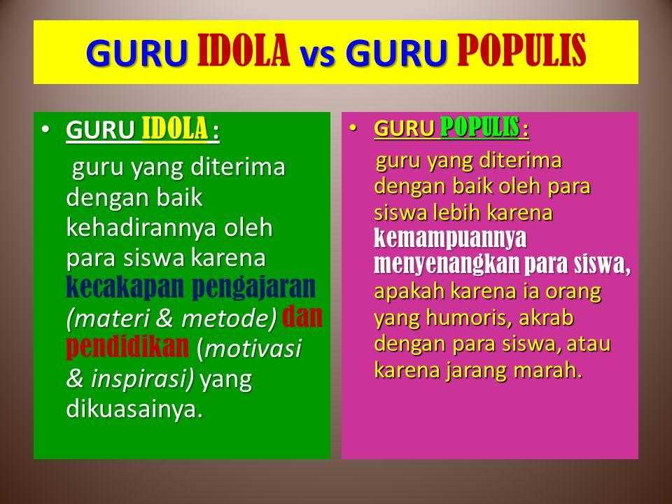 GURU vs GURU GURU IDOLA vs GURU POPULIS GURU IDOLA : GURU IDOLA : guru yang diterima dengan baik kehadirannya oleh para siswa karena (materi & metode)