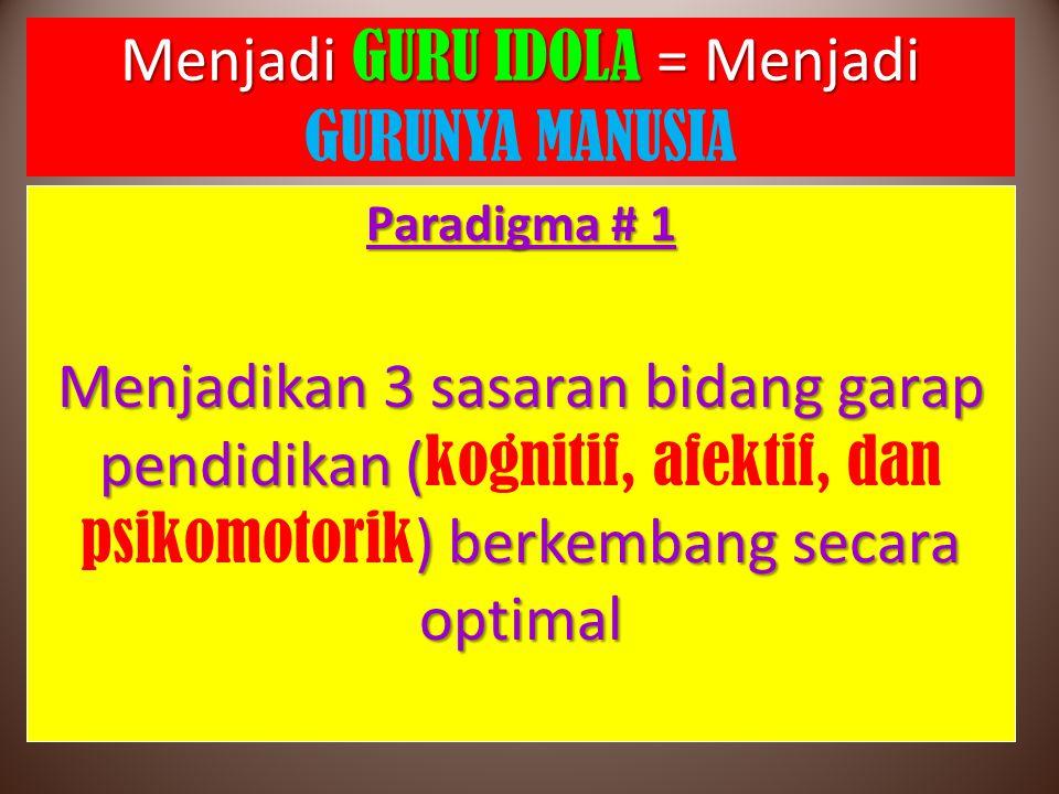 Menjadi GURU IDOLA = Menjadi Menjadi GURU IDOLA = Menjadi GURUNYA MANUSIA Paradigma # 1 Menjadikan 3 sasaran bidang garap pendidikan ( ) berkembang se