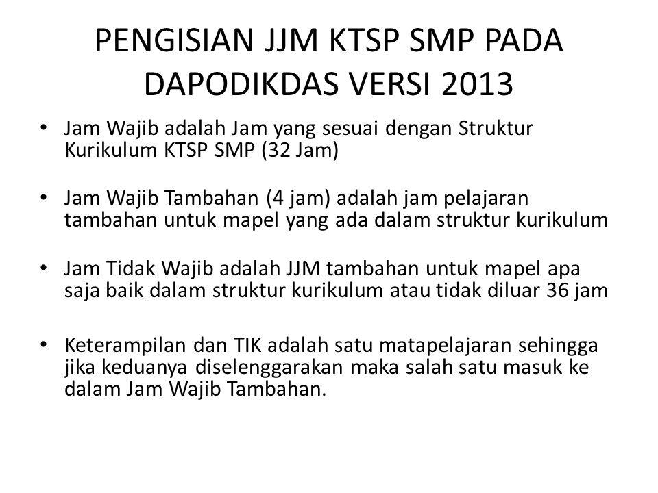 PENGISIAN JJM KTSP SMP PADA DAPODIKDAS VERSI 2013 Jam Wajib adalah Jam yang sesuai dengan Struktur Kurikulum KTSP SMP (32 Jam) Jam Wajib Tambahan (4 j