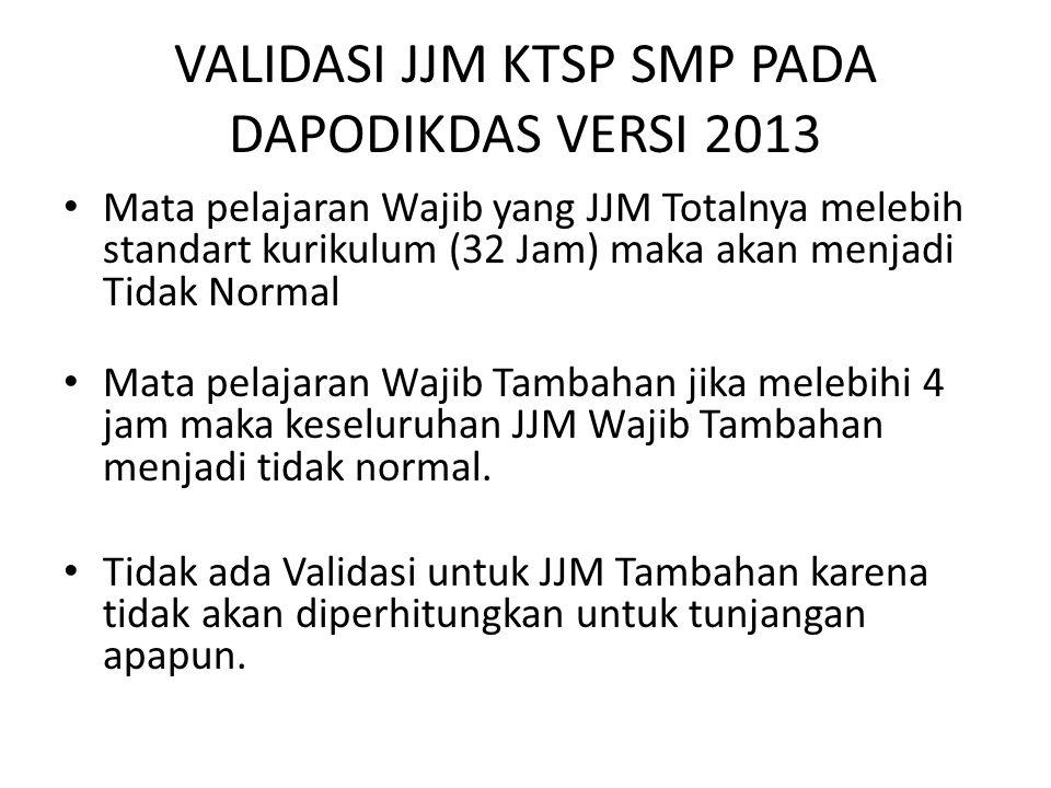 VALIDASI JJM KTSP SMP PADA DAPODIKDAS VERSI 2013 Mata pelajaran Wajib yang JJM Totalnya melebih standart kurikulum (32 Jam) maka akan menjadi Tidak No
