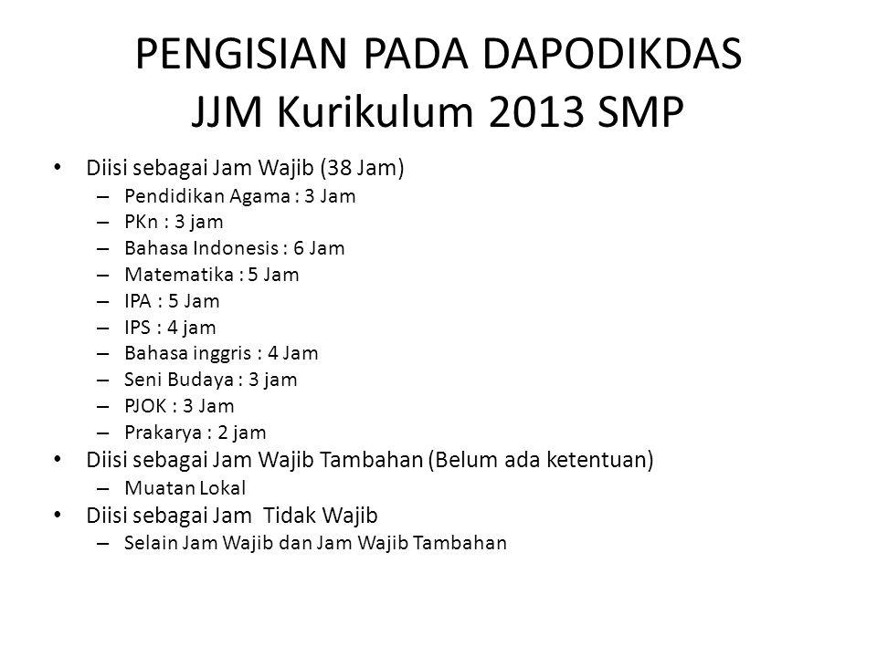 PENGISIAN PADA DAPODIKDAS JJM Kurikulum 2013 SMP Diisi sebagai Jam Wajib (38 Jam) – Pendidikan Agama : 3 Jam – PKn : 3 jam – Bahasa Indonesis : 6 Jam