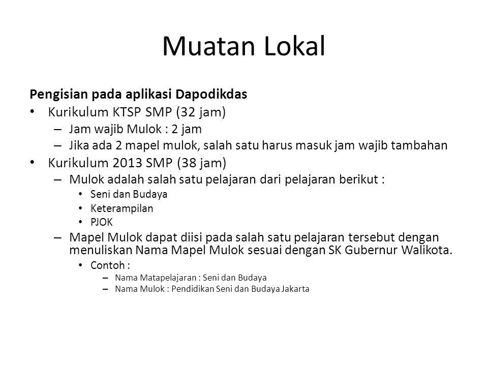 Muatan Lokal Pengisian pada aplikasi Dapodikdas Kurikulum KTSP SMP (32 jam) – Jam wajib Mulok : 2 jam – Jika ada 2 mapel mulok, salah satu harus masuk
