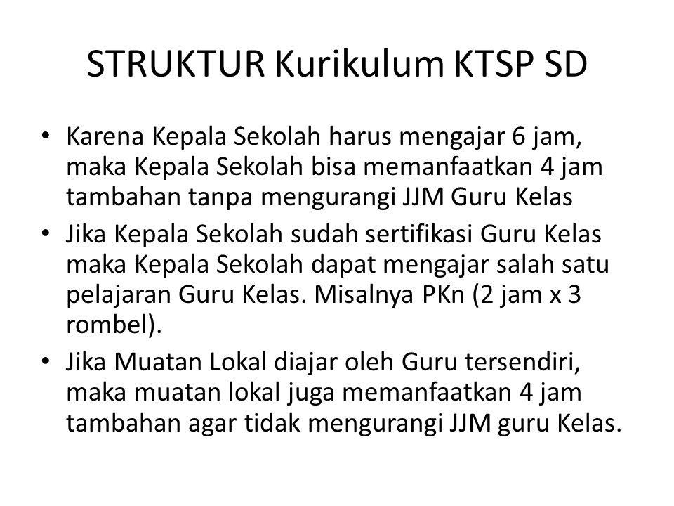 STRUKTUR Kurikulum KTSP SD Karena Kepala Sekolah harus mengajar 6 jam, maka Kepala Sekolah bisa memanfaatkan 4 jam tambahan tanpa mengurangi JJM Guru