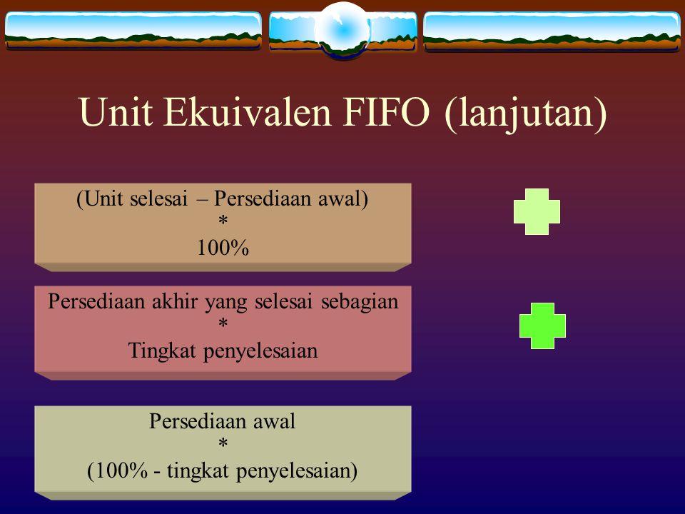 Unit Ekuivalen FIFO (lanjutan) (Unit selesai – Persediaan awal) * 100% Persediaan akhir yang selesai sebagian * Tingkat penyelesaian Persediaan awal *