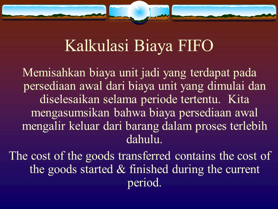 Kalkulasi Biaya FIFO Memisahkan biaya unit jadi yang terdapat pada persediaan awal dari biaya unit yang dimulai dan diselesaikan selama periode terten
