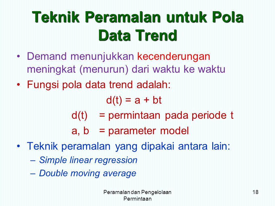 Teknik Peramalan untuk Pola Data Trend Demand menunjukkan kecenderungan meningkat (menurun) dari waktu ke waktu Fungsi pola data trend adalah: d(t) =