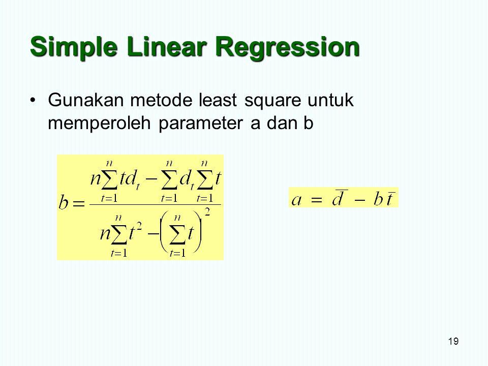 Simple Linear Regression Gunakan metode least square untuk memperoleh parameter a dan b 19