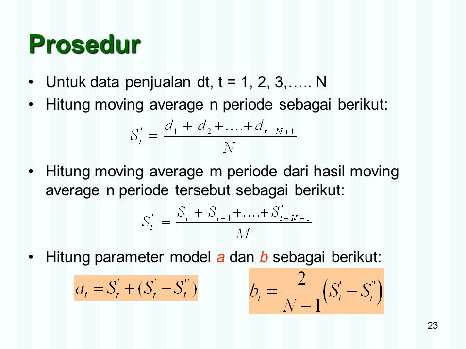 Prosedur Untuk data penjualan dt, t = 1, 2, 3,….. N Hitung moving average n periode sebagai berikut: Hitung moving average m periode dari hasil moving