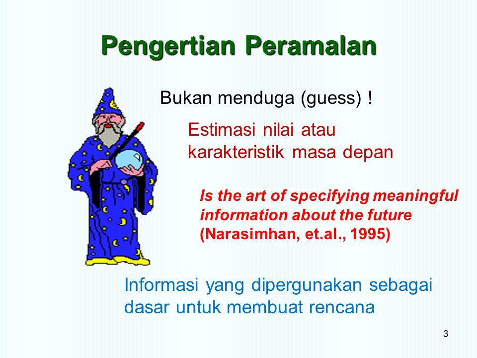 Pengertian Peramalan 3 Bukan menduga (guess) ! Estimasi nilai atau karakteristik masa depan Is the art of specifying meaningful information about the