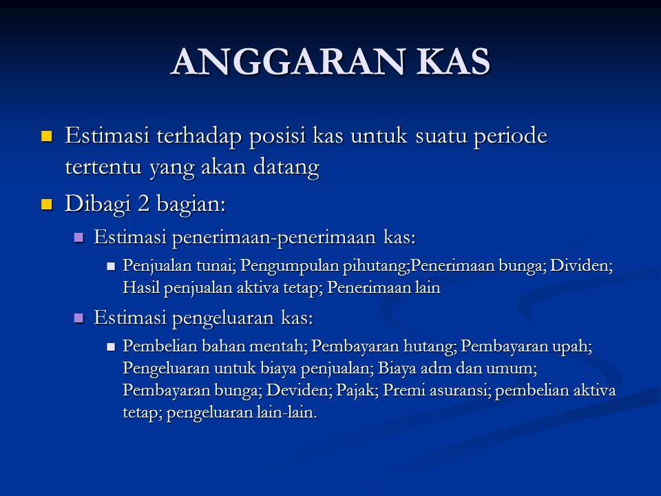 ANGGARAN KAS Estimasi terhadap posisi kas untuk suatu periode tertentu yang akan datang Estimasi terhadap posisi kas untuk suatu periode tertentu yang
