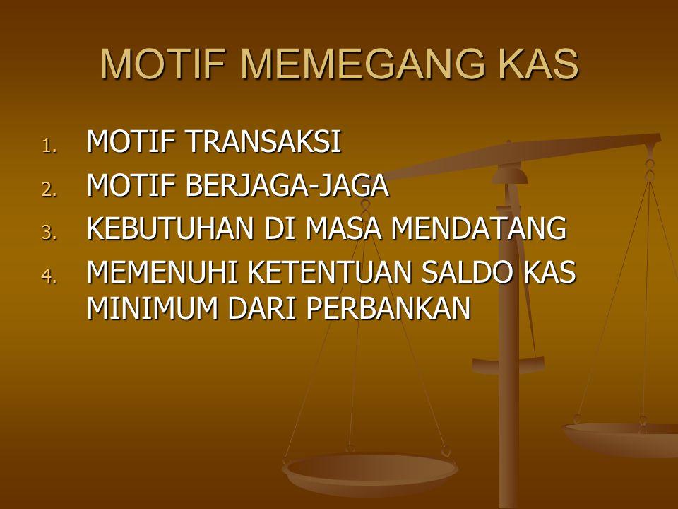 MOTIF MEMEGANG KAS 1. MOTIF TRANSAKSI 2. MOTIF BERJAGA-JAGA 3. KEBUTUHAN DI MASA MENDATANG 4. MEMENUHI KETENTUAN SALDO KAS MINIMUM DARI PERBANKAN