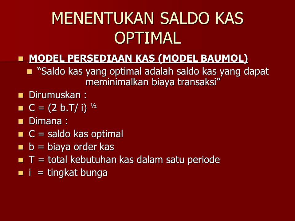 """MENENTUKAN SALDO KAS OPTIMAL MODEL PERSEDIAAN KAS (MODEL BAUMOL) MODEL PERSEDIAAN KAS (MODEL BAUMOL) """"Saldo kas yang optimal adalah saldo kas yang dap"""