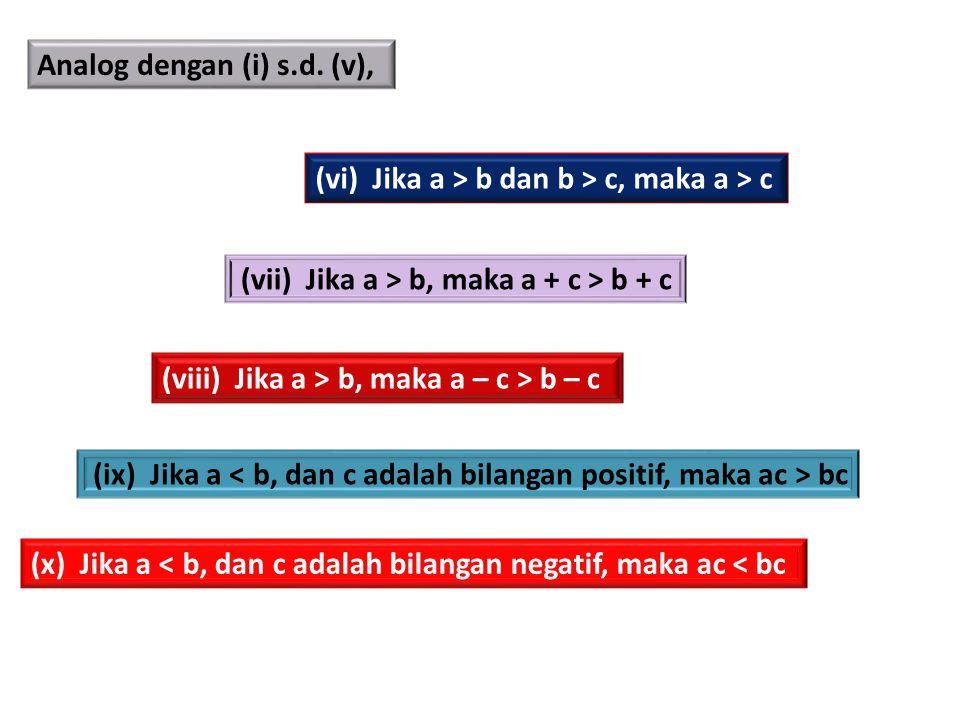Analog dengan (i) s.d. (v), (vi) Jika a > b dan b > c, maka a > c (viii) Jika a > b, maka a – c > b – c (vii) Jika a > b, maka a + c > b + c (ix) Jika
