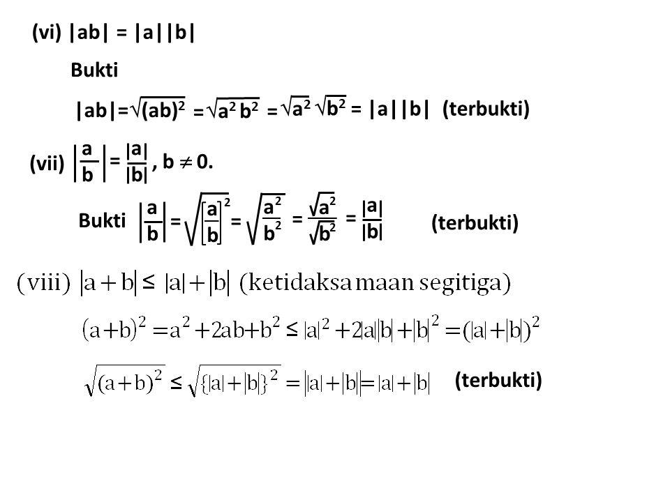 (vi) |ab| = |a||b| Bukti |ab|=  (ab) 2  a 2 b 2 = a2a2 = b2b2 = |a||b| (terbukti) (vii) abab = abab, b  0. Bukti abab abab = abab 2 abab 2 2 =