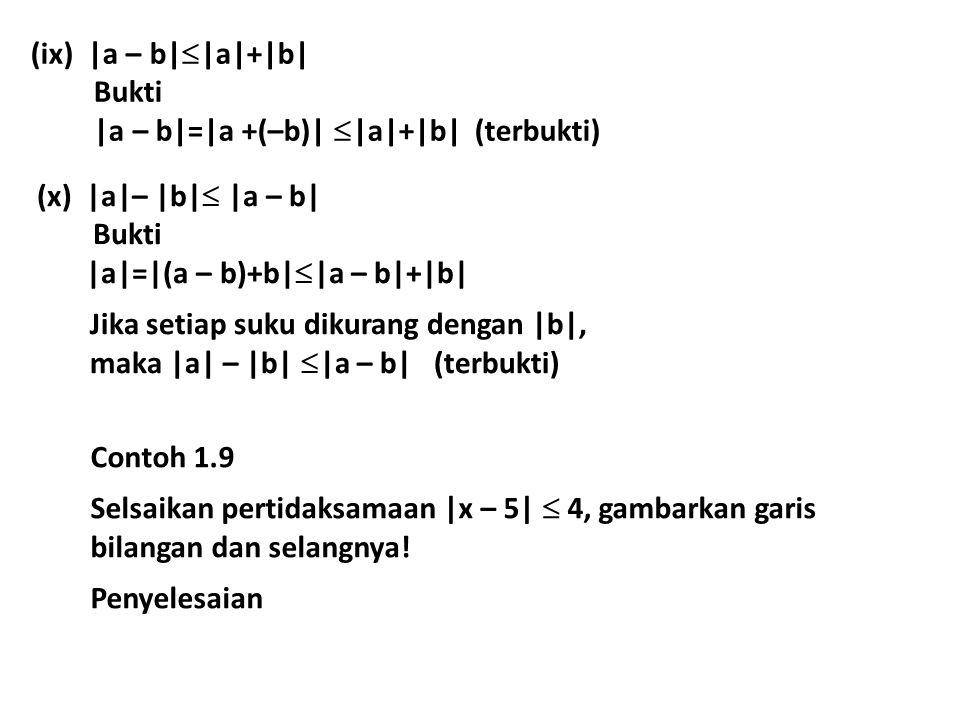 (ix) |a – b|  |a|+|b| Bukti |a – b|=|a +(–b)|  |a|+|b| (terbukti) (x) |a|– |b|  |a – b| Bukti |a|=|(a – b)+b|  |a – b|+|b| Jika setiap suku dikura