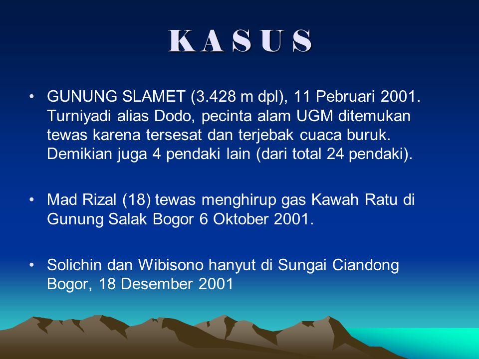 K A S U S GUNUNG SLAMET (3.428 m dpl), 11 Pebruari 2001. Turniyadi alias Dodo, pecinta alam UGM ditemukan tewas karena tersesat dan terjebak cuaca bur