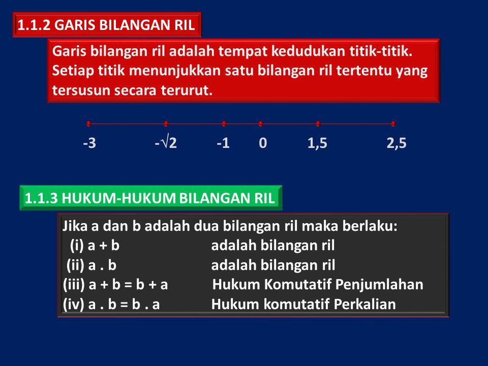 Jika a, b, dan c adalah tiga bilangan ril maka berlaku: (v) (a + b) + c = a + (b + c) adalah bilangan ril (vi) (ab)c = a (bc) adalah bilangan ril (vii) a(b + c) = ab + ac Hukum Komutatif Penjumlahan (viii) a + 0 = 0 + a Hukum Penjumlahan Nol (ix) a.