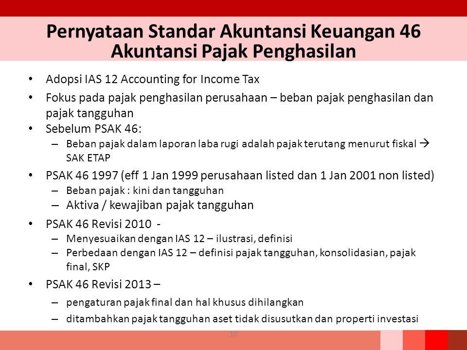 Pernyataan Standar Akuntansi Keuangan 46 Akuntansi Pajak Penghasilan Adopsi IAS 12 Accounting for Income Tax Fokus pada pajak penghasilan perusahaan –