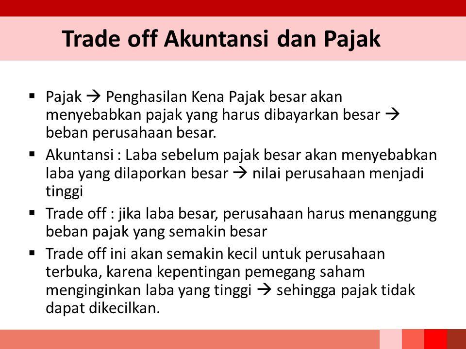 Trade off Akuntansi dan Pajak  Pajak  Penghasilan Kena Pajak besar akan menyebabkan pajak yang harus dibayarkan besar  beban perusahaan besar.  Ak