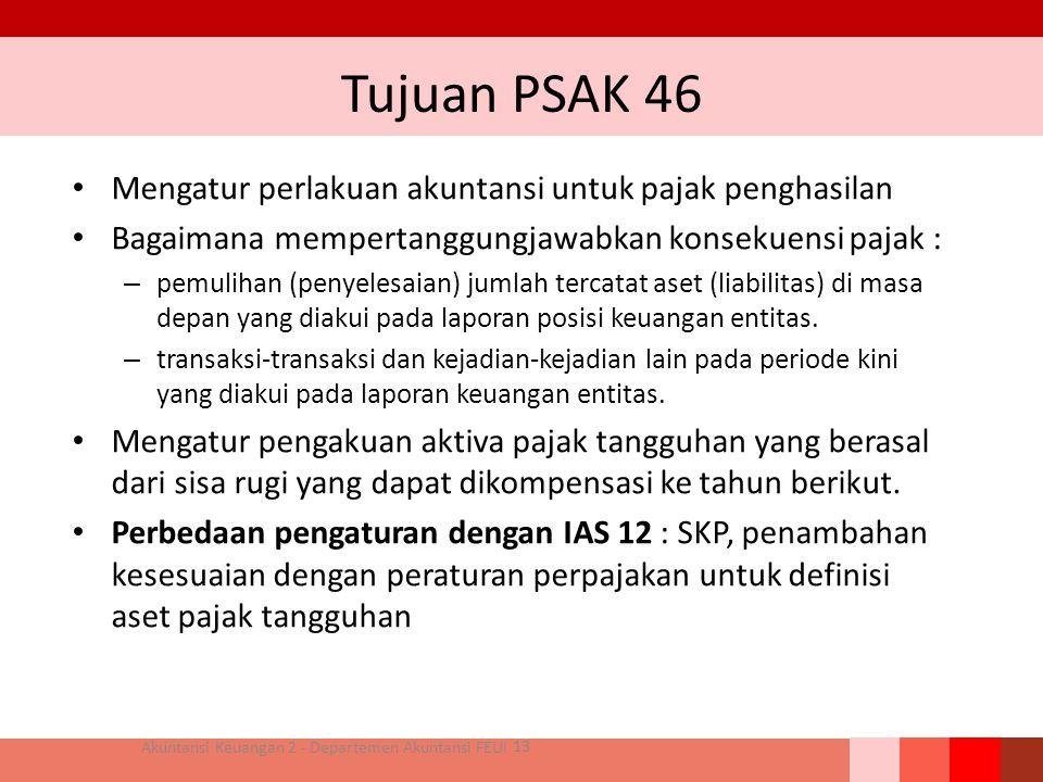 Tujuan PSAK 46 Mengatur perlakuan akuntansi untuk pajak penghasilan Bagaimana mempertanggungjawabkan konsekuensi pajak : – pemulihan (penyelesaian) ju