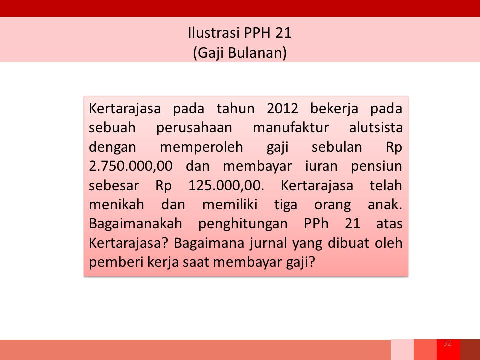 Ilustrasi PPH 21 (Gaji Bulanan) 32 Kertarajasa pada tahun 2012 bekerja pada sebuah perusahaan manufaktur alutsista dengan memperoleh gaji sebulan Rp 2