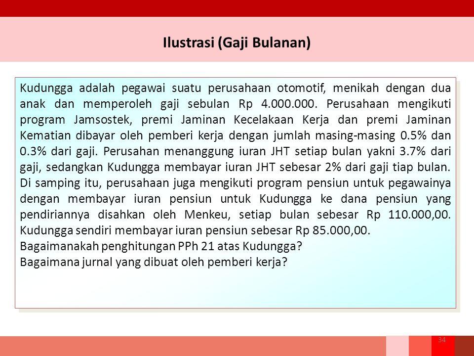 Ilustrasi (Gaji Bulanan) 34 Kudungga adalah pegawai suatu perusahaan otomotif, menikah dengan dua anak dan memperoleh gaji sebulan Rp 4.000.000. Perus