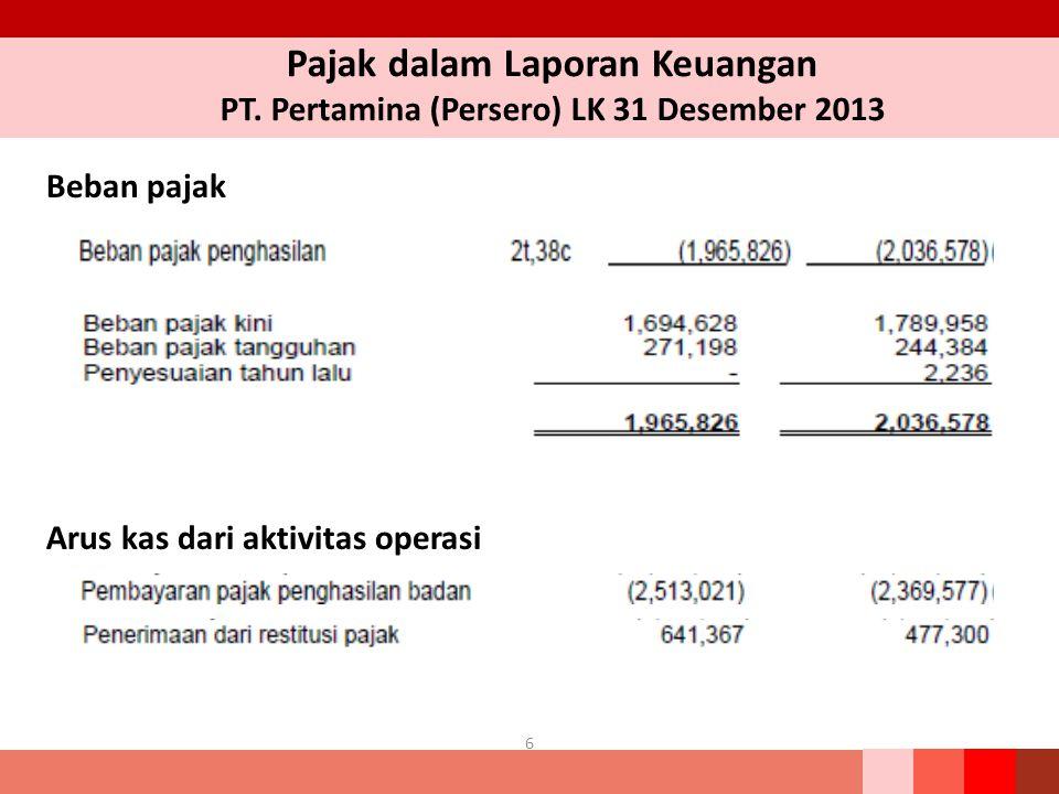 Pajak dalam Laporan Keuangan PT. Pertamina (Persero) LK 31 Desember 2013 6 Beban pajak Arus kas dari aktivitas operasi