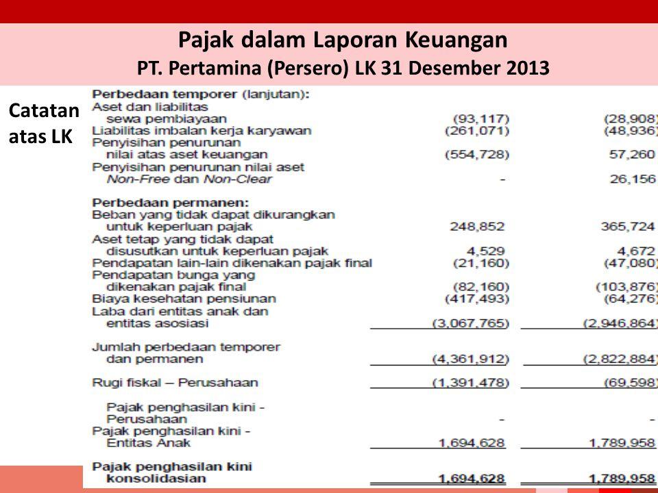Pajak dalam Laporan Keuangan PT. Pertamina (Persero) LK 31 Desember 2013 Catatan atas LK