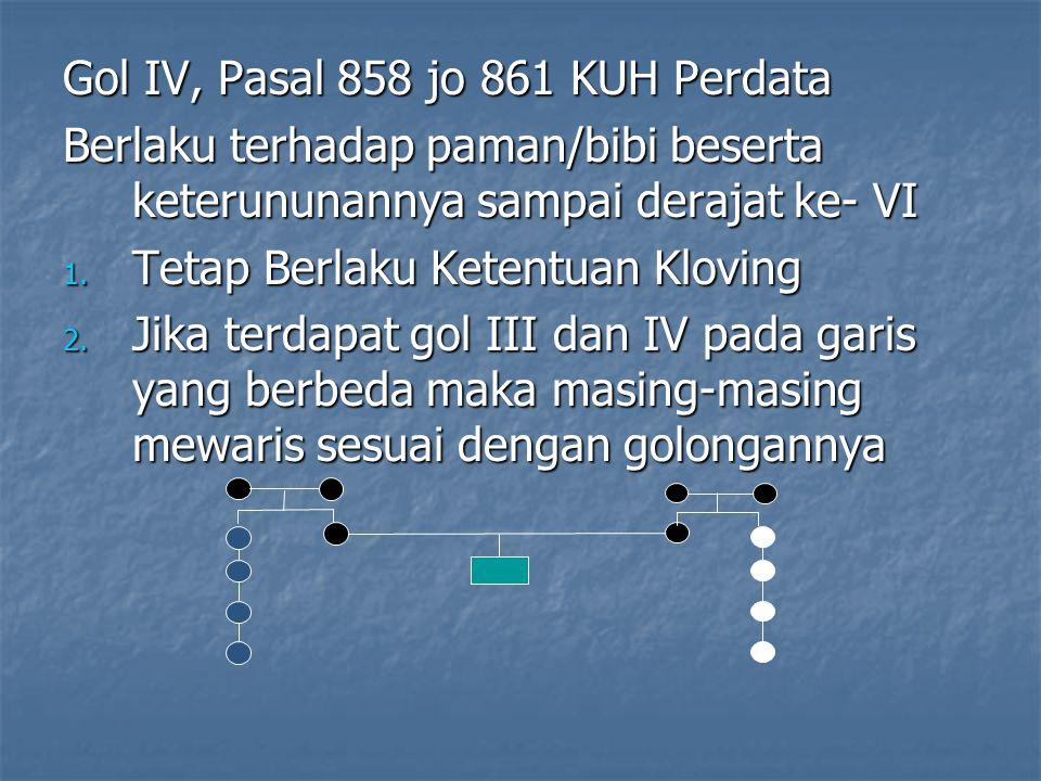 Gol IV, Pasal 858 jo 861 KUH Perdata Berlaku terhadap paman/bibi beserta keterununannya sampai derajat ke- VI 1. Tetap Berlaku Ketentuan Kloving 2. Ji