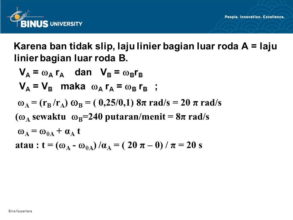 Bina Nusantara Karena ban tidak slip, laju linier bagian luar roda A = laju linier bagian luar roda B. V A =  A r A dan V B =  B r B V A = V B maka