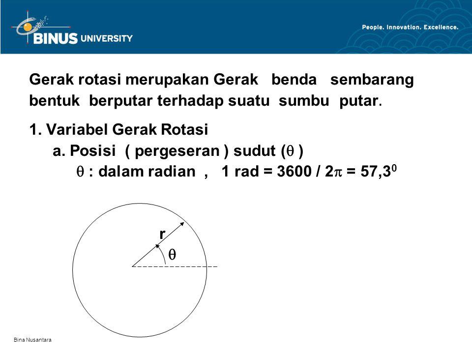 Bina Nusantara Gerak rotasi merupakan Gerak benda sembarang bentuk berputar terhadap suatu sumbu putar. 1. Variabel Gerak Rotasi a. Posisi ( pergesera