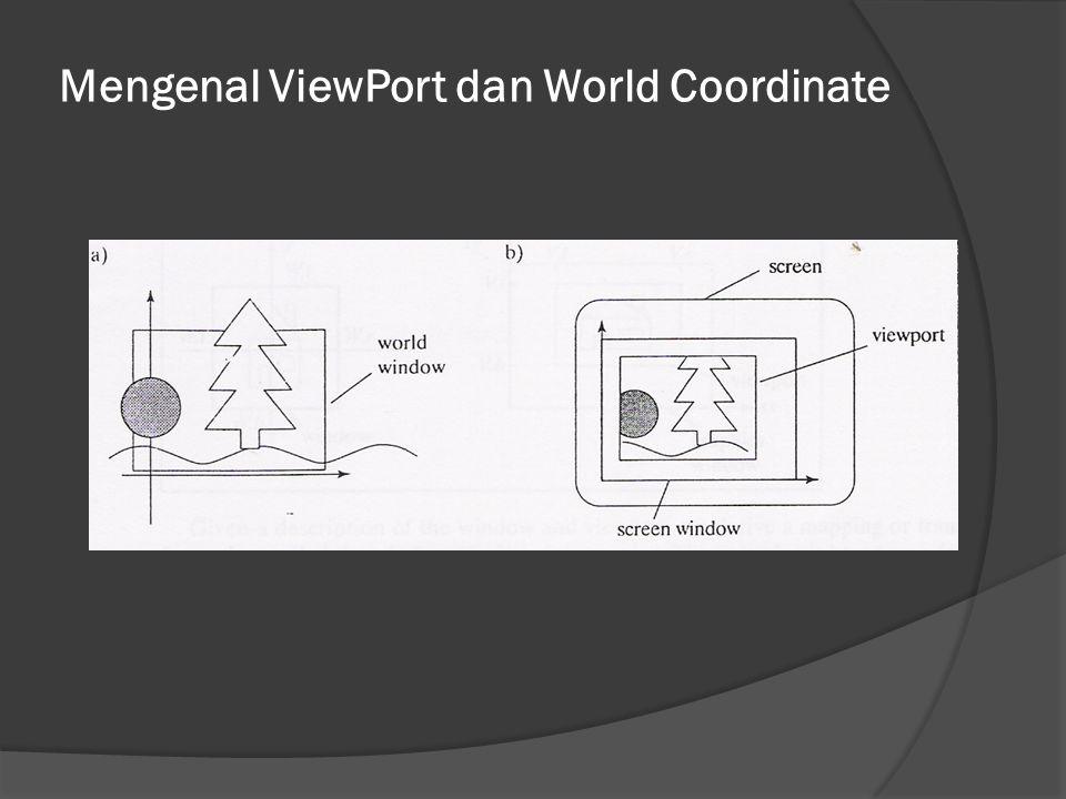 Pemetaan dari World Coordinate ke ViewPort sx = terhadap x, sy = terhadap y, dinyatakan dgn: sx = Ax + C sy = By + D A dan B = menskala sumbu x dan y.