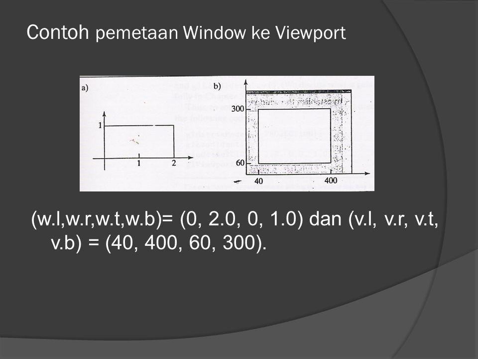 Contoh pemetaan Window ke Viewport (w.l,w.r,w.t,w.b)= (0, 2.0, 0, 1.0) dan (v.l, v.r, v.t, v.b) = (40, 400, 60, 300).