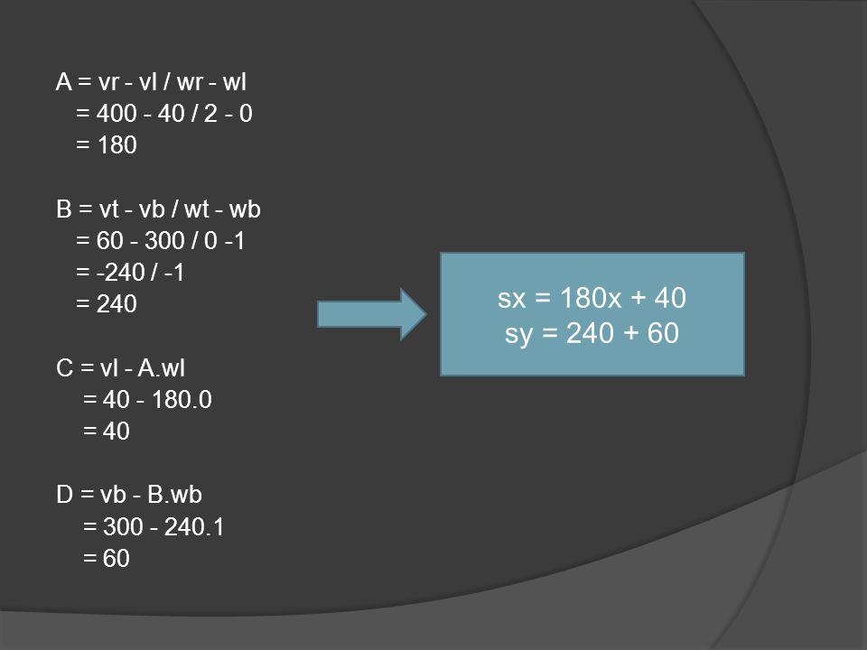 A = vr - vl / wr - wl = 400 - 40 / 2 - 0 = 180 B = vt - vb / wt - wb = 60 - 300 / 0 -1 = -240 / -1 = 240 C = vl - A.wl = 40 - 180.0 = 40 D = vb - B.wb