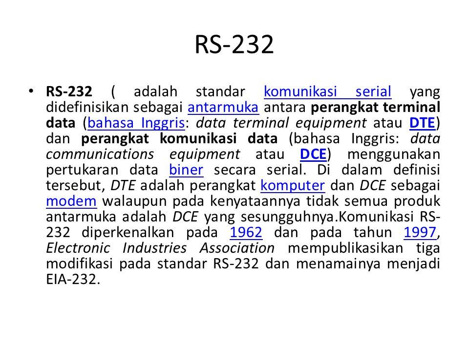 RS-232 RS-232 ( adalah standar komunikasi serial yang didefinisikan sebagai antarmuka antara perangkat terminal data (bahasa Inggris: data terminal equipment atau DTE) dan perangkat komunikasi data (bahasa Inggris: data communications equipment atau DCE) menggunakan pertukaran data biner secara serial.