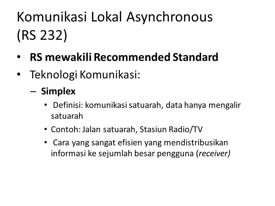 Komunikasi Lokal Asynchronous (RS 232) RS mewakili Recommended Standard Teknologi Komunikasi: – Simplex Definisi: komunikasi satuarah, data hanya mengalir satuarah Contoh: Jalan satuarah, Stasiun Radio/TV Cara yang sangat efisien yang mendistribusikan informasi ke sejumlah besar pengguna (receiver)