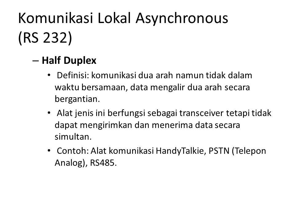 Komunikasi Lokal Asynchronous (RS 232) – Half Duplex Definisi: komunikasi dua arah namun tidak dalam waktu bersamaan, data mengalir dua arah secara bergantian.