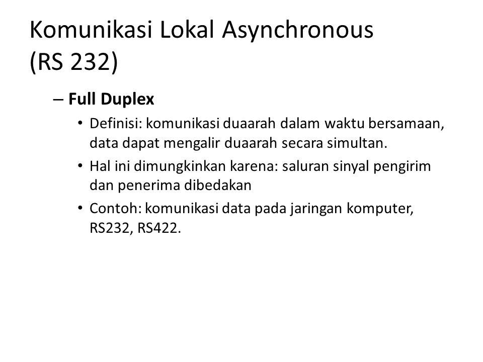 Komunikasi Lokal Asynchronous (RS 232) – Full Duplex Definisi: komunikasi duaarah dalam waktu bersamaan, data dapat mengalir duaarah secara simultan.