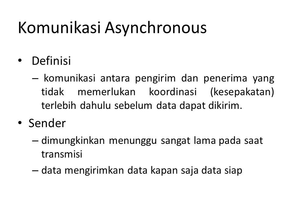 Komunikasi Asynchronous Definisi – komunikasi antara pengirim dan penerima yang tidak memerlukan koordinasi (kesepakatan) terlebih dahulu sebelum data dapat dikirim.