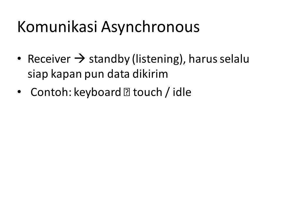 Komunikasi Asynchronous Receiver  standby (listening), harus selalu siap kapan pun data dikirim Contoh: keyboard  touch / idle