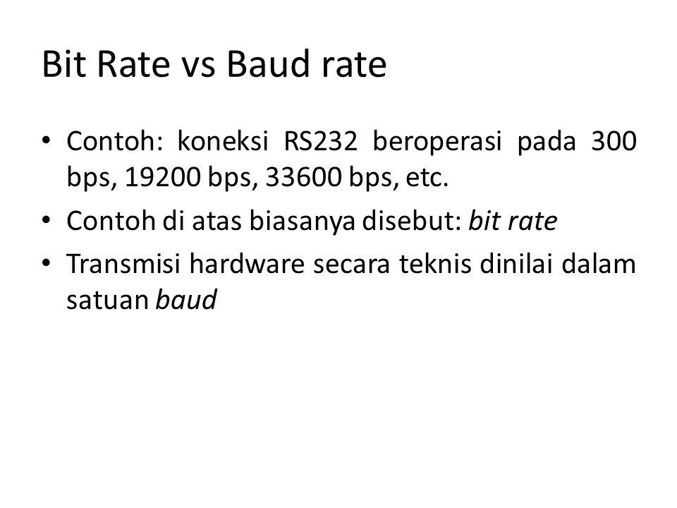 Bit Rate vs Baud rate Contoh: koneksi RS232 beroperasi pada 300 bps, 19200 bps, 33600 bps, etc.