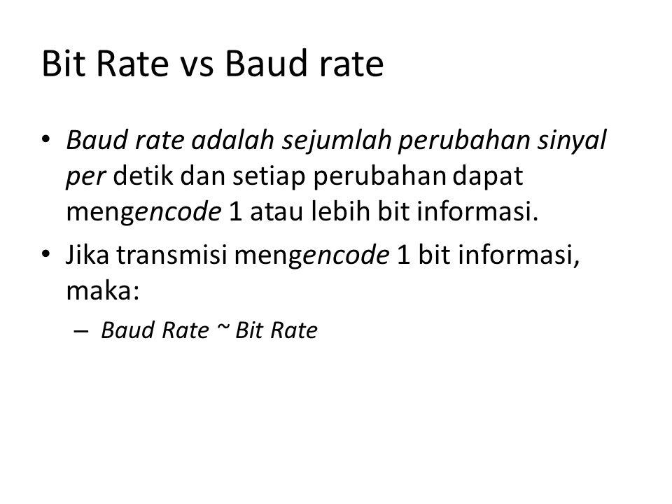 Bit Rate vs Baud rate Baud rate adalah sejumlah perubahan sinyal per detik dan setiap perubahan dapat mengencode 1 atau lebih bit informasi.