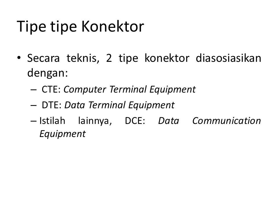 Tipe tipe Konektor Secara teknis, 2 tipe konektor diasosiasikan dengan: – CTE: Computer Terminal Equipment – DTE: Data Terminal Equipment – Istilah lainnya, DCE: Data Communication Equipment
