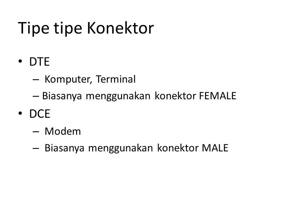 Tipe tipe Konektor DTE – Komputer, Terminal – Biasanya menggunakan konektor FEMALE DCE – Modem – Biasanya menggunakan konektor MALE