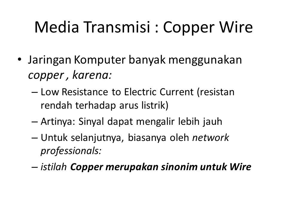 Media Transmisi : Copper Wire Jaringan Komputer banyak menggunakan copper, karena: – Low Resistance to Electric Current (resistan rendah terhadap arus listrik) – Artinya: Sinyal dapat mengalir lebih jauh – Untuk selanjutnya, biasanya oleh network professionals: – istilah Copper merupakan sinonim untuk Wire