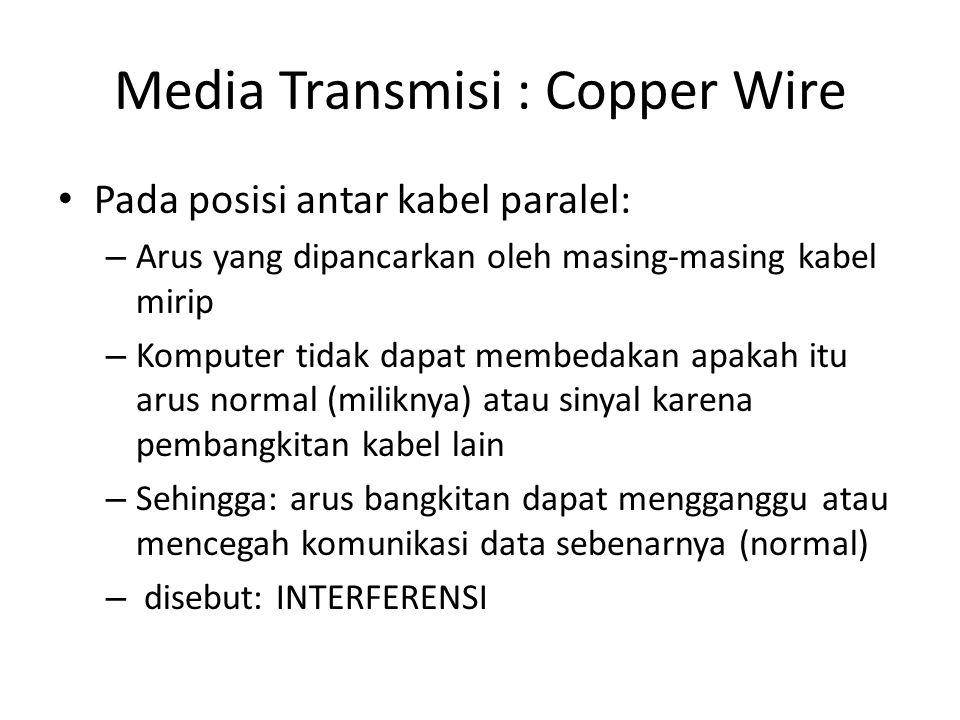 Media Transmisi : Copper Wire Pada posisi antar kabel paralel: – Arus yang dipancarkan oleh masing-masing kabel mirip – Komputer tidak dapat membedakan apakah itu arus normal (miliknya) atau sinyal karena pembangkitan kabel lain – Sehingga: arus bangkitan dapat mengganggu atau mencegah komunikasi data sebenarnya (normal) – disebut: INTERFERENSI