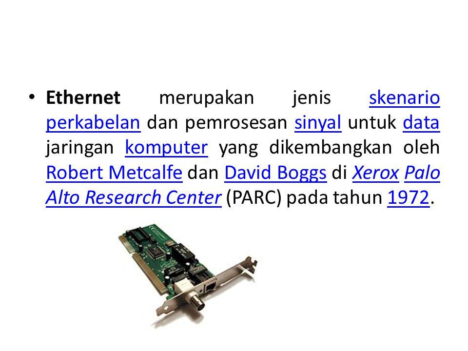 Ethernet merupakan jenis skenario perkabelan dan pemrosesan sinyal untuk data jaringan komputer yang dikembangkan oleh Robert Metcalfe dan David Boggs di Xerox Palo Alto Research Center (PARC) pada tahun 1972.skenario perkabelansinyaldatakomputer Robert MetcalfeDavid BoggsXeroxPalo Alto Research Center1972